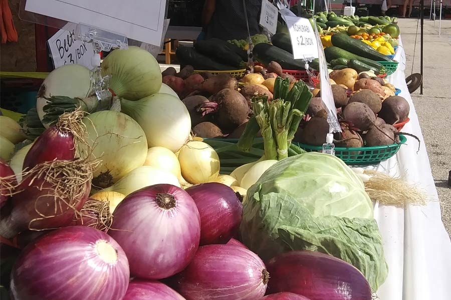 onions, beets and other vegetables