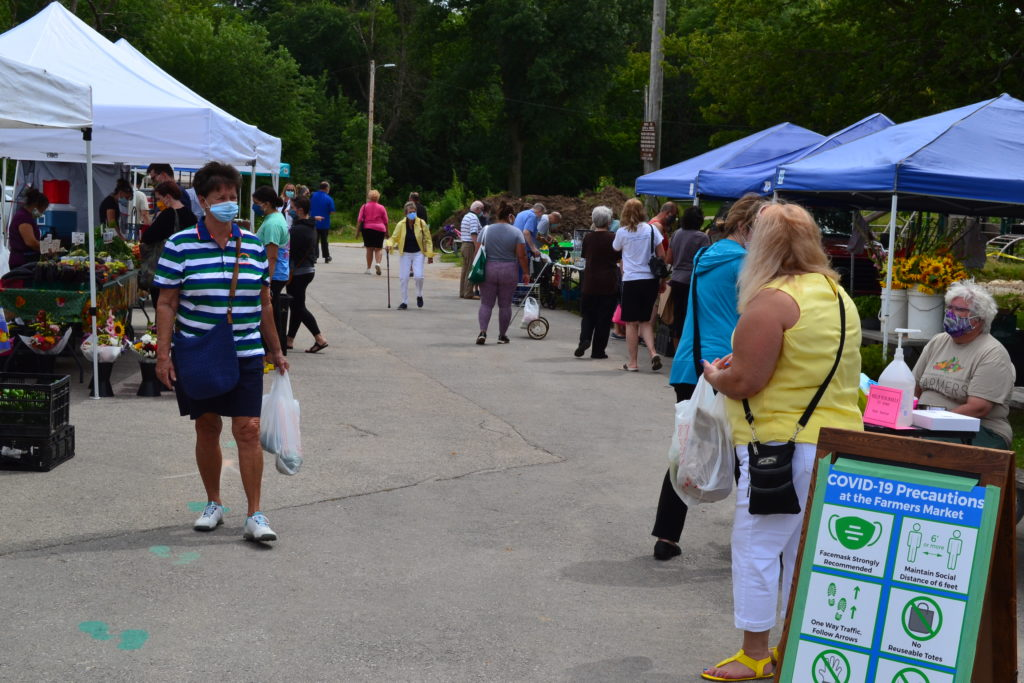 Visitors at the Farmers Market