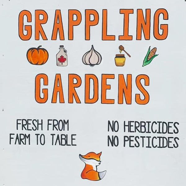 Grappling Gardens sign photo.