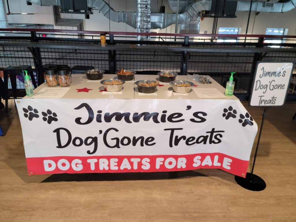 Photo of Jimmie's Dog'Gone Treats table.