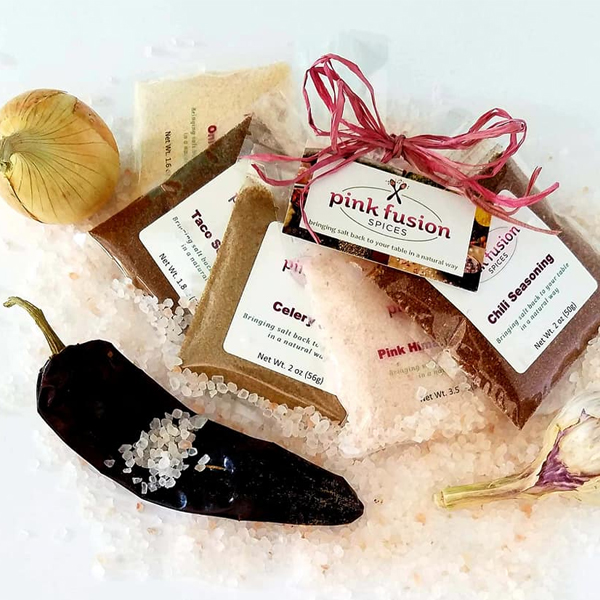 A photo of products from Pink Fusion Spice.